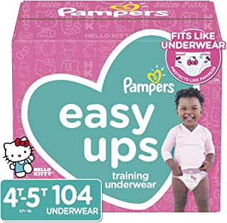 Pampers Easy Ups Pull On Disposable Potty Training Underwear for Girls, Size 6 (4T-5T), 104 Count, ONE MONTH SUPPLY