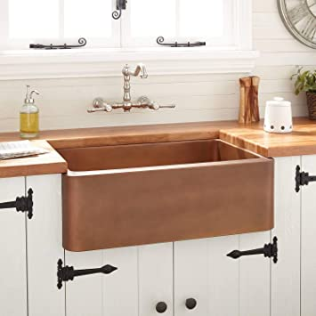 Signature Hardware 251483 Kembla 30 Farmhouse Single Basin Copper Kitchen Sink Amazon Com