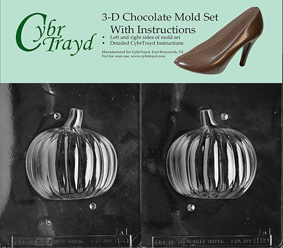 Cybrtrayd H089AB Chocolate Candy Mold Includes 3D Chocolate Molds Instructions And 2 Mold Kit 3D Pumpkin