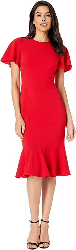 Short Sleeve Ruffle Hem Dress
