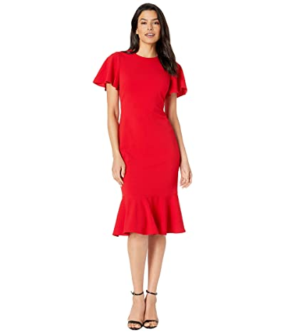 Calvin Klein Short Sleeve Ruffle Hem Dress (Red) Women