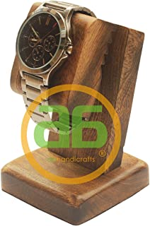 ABHANDICRAFTS - Mango Wood Polish Wooden Watch Stand/Dock/Station/Platform for All Models/Moms, DADS, Grandparents (Watch Stand Burn Finish)