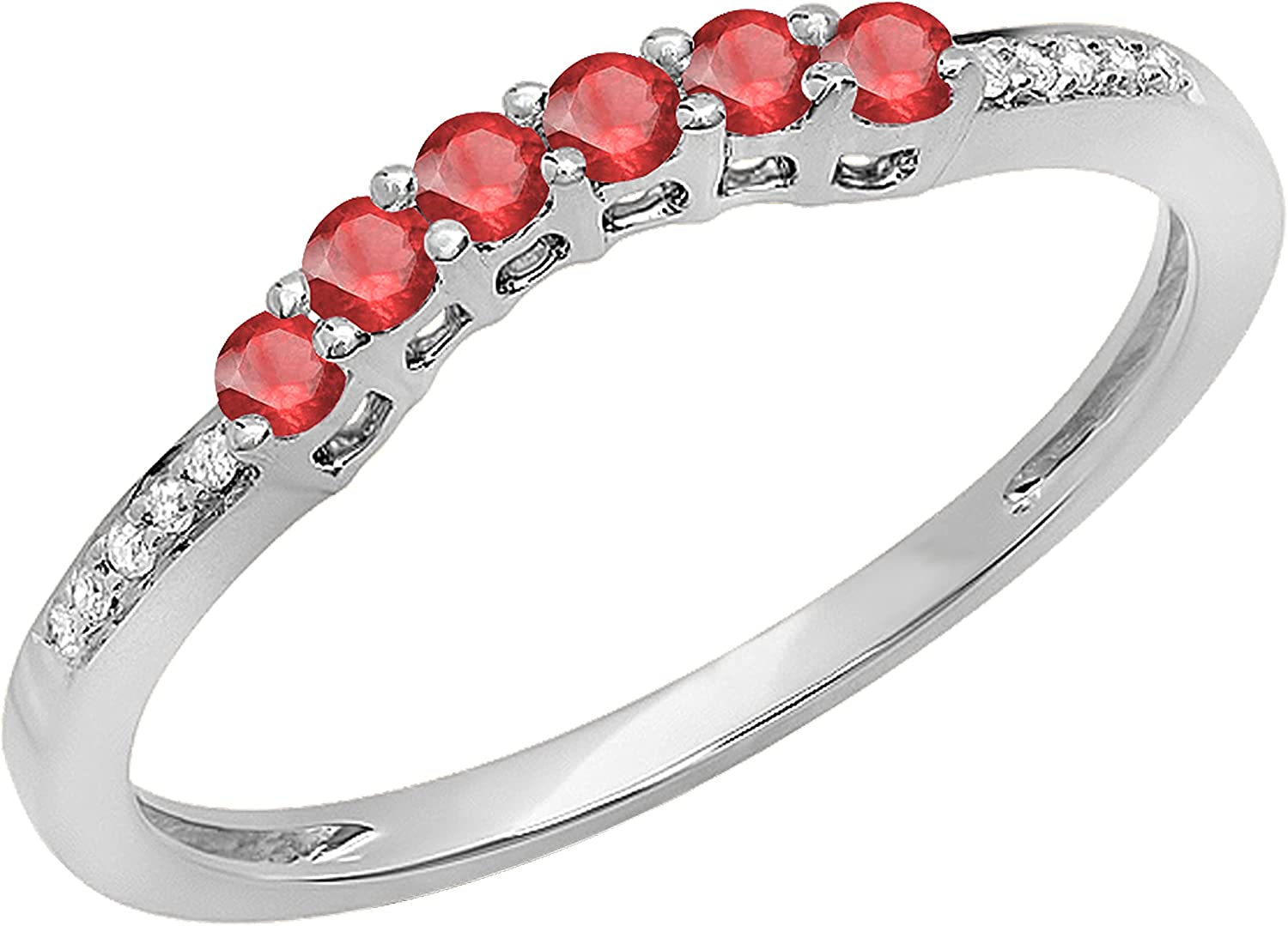 14K Gold Round Ruby & White Diamond Ladies Wedding Stackable Band Guard Ring