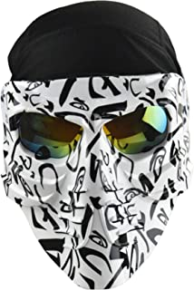 Jadedragon Skull Full Mask with Sweat Wicking Beanie Cap Hat for Paintball Motor Racing Tactical Helmet MICH Open Face Helmet