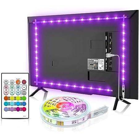 Led TV Hintergrundbeleuchtung, BASON USB LED Streifen 2.5m/8.2ft für 32-58 Zoll, DIY RGB Led Strip TV Led Beleuchtung mit Fernbedienung für Fernseher PC Cinema Dekoration