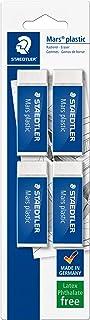 STAEDTLER confezione da 4 gomme per cancellare Mars Plastic, colore bianco, senza ftalati né lattice, ottime prestazioni e...