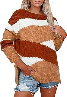 PKYGXZ Suéter de Punto Suelto para Mujer, jerséis de Bloqueo de Color a Rayas Irregulares, Jersey de Punto para Mujer, Sud...