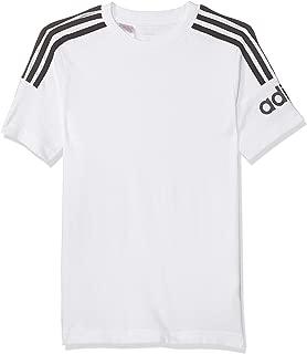 adidas Boy's YB CREW T-SHIRT T-Shirt, White/Black, 9-10 Years