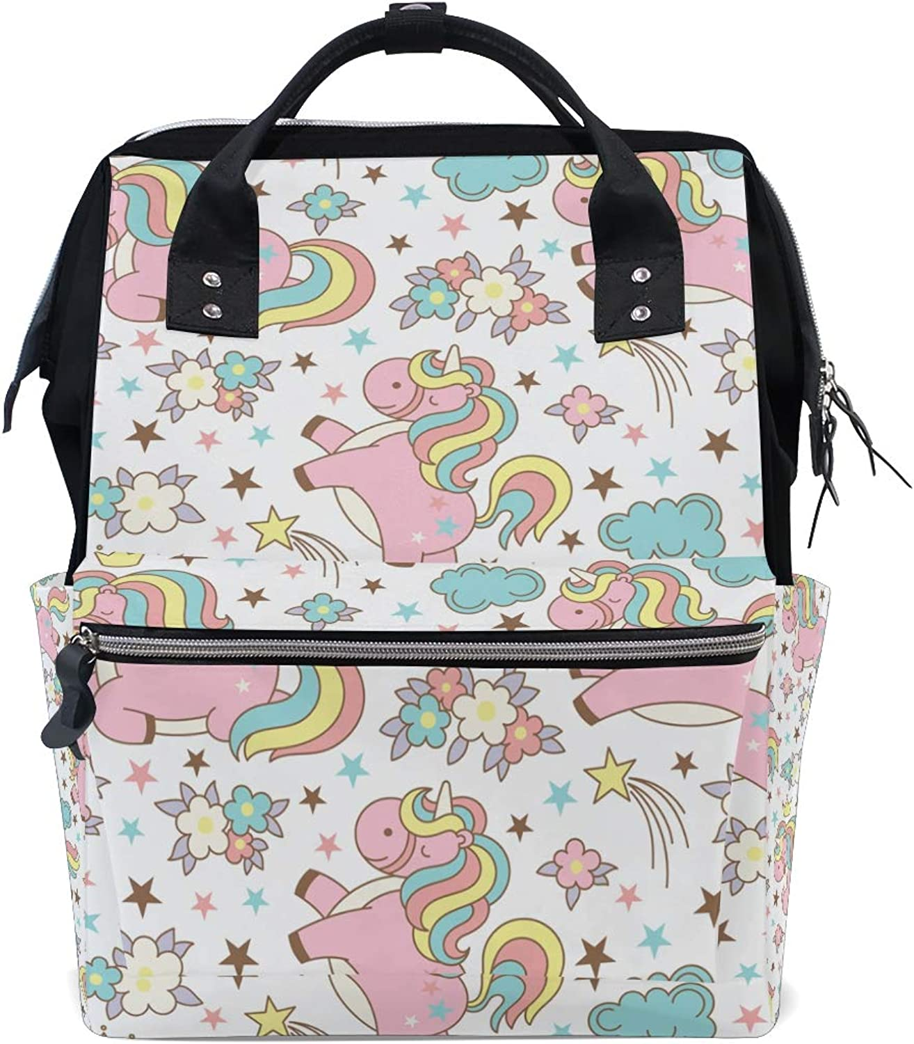 ColourLife Diaper bag Backpack Unicorn Pattern With Clouds Tote Bag Casual Daypack Multifunctional Nappy Bags