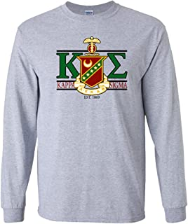 VictoryStore Apparel - Kappa Sigma, Greek Letters with Large Crest Design, Long Sleeve T-Shirt