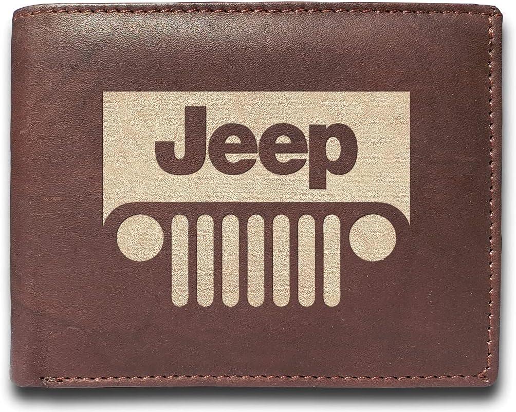 Bubisa Jeep Genuine Cowhide Leather Laser Engraved Engraving Slimfold Mens Large Capacity Luxury Wallet Purse Minimalist Sleek and Slim Brown Credit Card Holder Organizer 14 Pockets, Medium