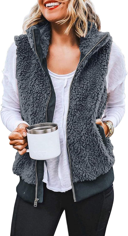 LookbookStore Women Casual Sherpa Fleece Vest Warm Fuzzy Zip Up Vest with Pockets