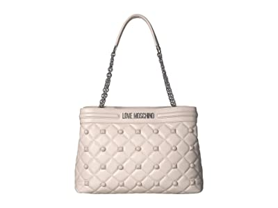 LOVE Moschino Quilted Shoulder Bag (Avorio) Handbags