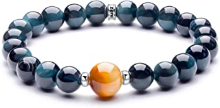 ZENI Love of Life Couple Bracelet for Men and Women, 8mm Natural Blue Tiger Eye Stone Beaded with 925 Sterling Silver Circle, Healing Crystal Chakra Bracelet Charm Gems Bracelet Jewelry Gift