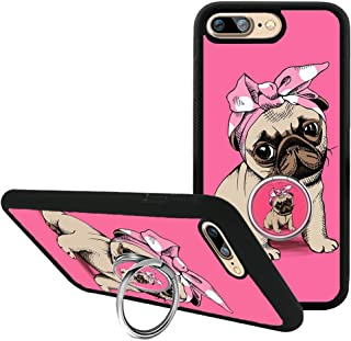 iPhone 7 Plus with Kickstand, Bulldog iPhone 8 Plus Case with Customized Cute 360 Degree Rotating Ring Holder Grip, TPU Bumper Case for iPhone 7 Plus/8 Plus 5.5 inch