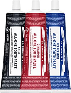 Dr. Bronner's All-One Toothpaste Variey Pack - Peppermint, Cinnamon, Anise, 5 Ounce, 3 Pack
