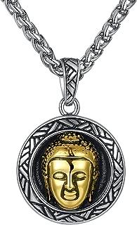 Aoiy Stainless Steel Buddha Pendant Necklace, Unisex, 24