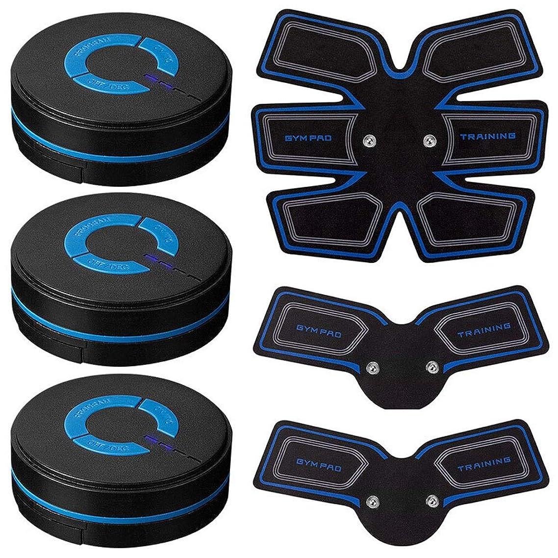 消毒する儀式傾向USB充電筋肉トナー腹筋absシミュレータ腹部調色ベルトワークアウトワイヤレスEMSトレーニングホームオフィス用腹部/腕/脚トレーニングホームオフィス (Size : 3 host 1 set of stickers)