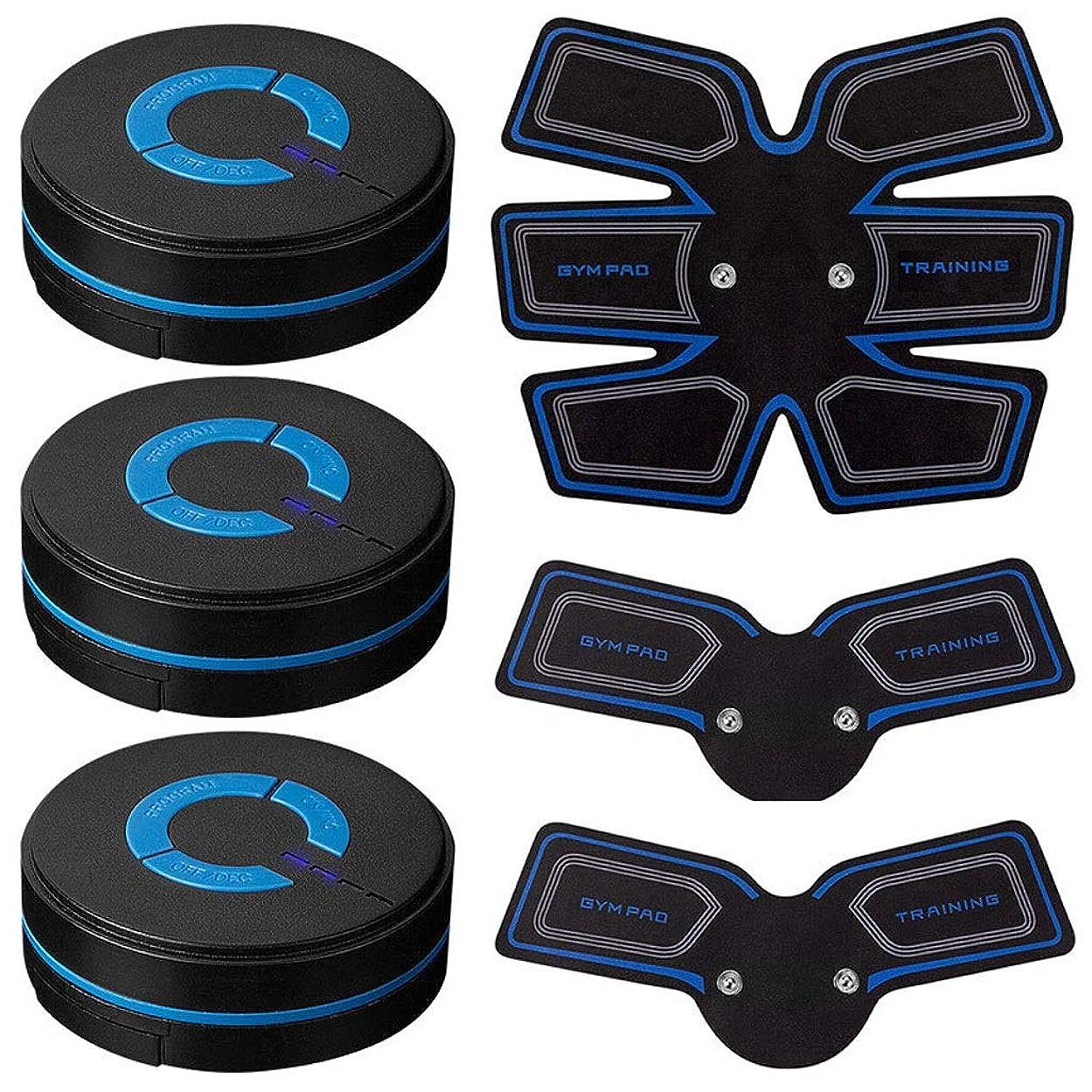 USB充電筋肉トナー腹筋absシミュレータ腹部調色ベルトワークアウトワイヤレスEMSトレーニングホームオフィス用腹部/腕/脚トレーニングホームオフィス (Size : 3 host 1 set of stickers)