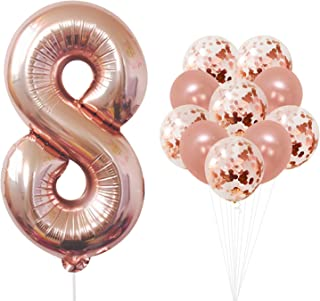 Rose Gold Number 8 balloon - foil mylar Rose Gold Balloons Party Decorations rose gold party supplies for Engagement birthday baby shower wedding 32 Foot Balloons String