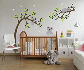 LUCKKYY Three Koalas Tree Branches Wall Decal Wall Sticker Baby Nursery Decor Kids Room (Large)