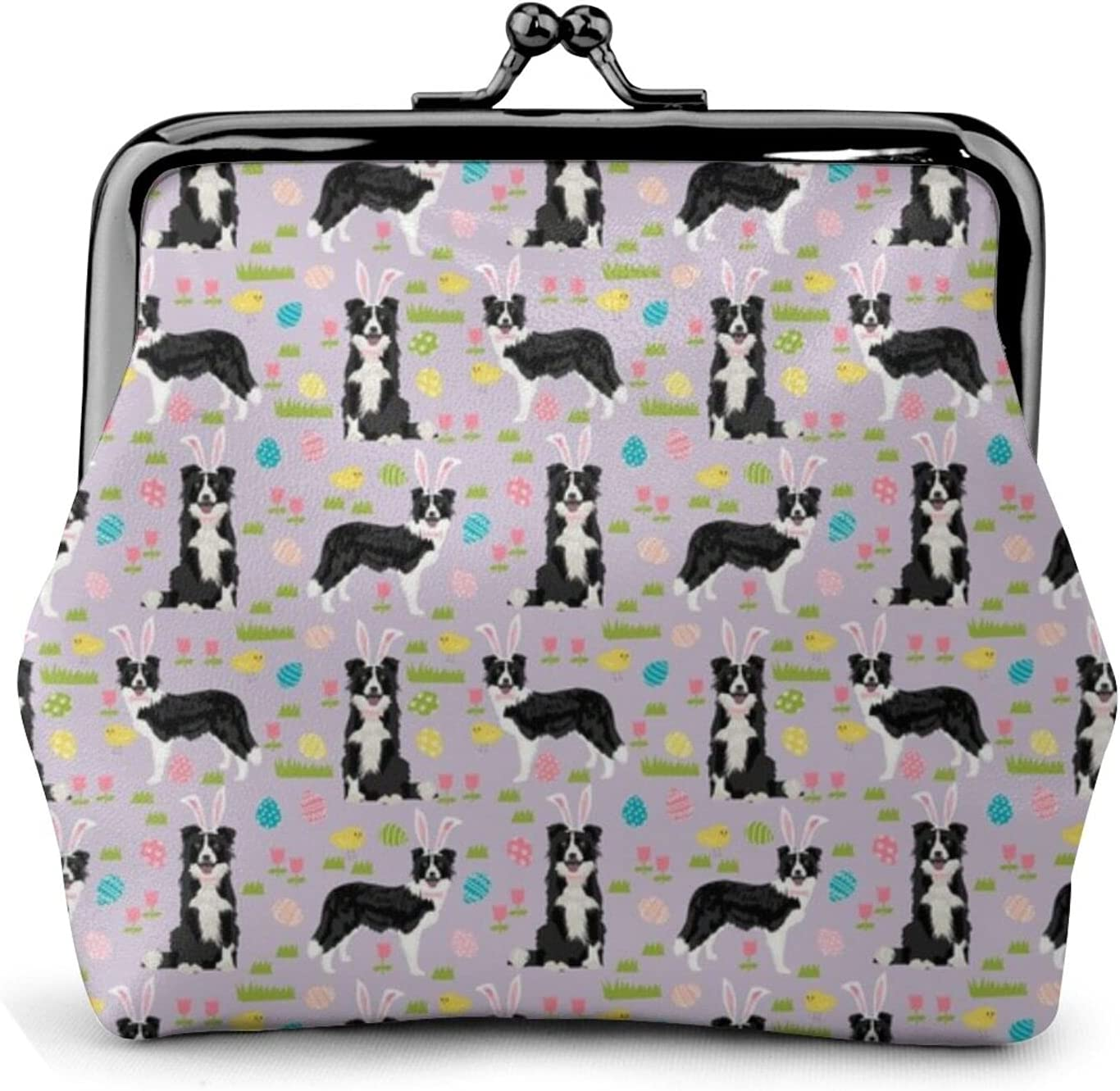 Border Collie Spring 839 Coin Purse Retro Money Pouch with Kiss-lock Buckle Small Wallet for Women and Girls