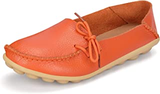 labato Women's Leather Casual Loafers Driving Moccasin Flats Slip-On Shoes