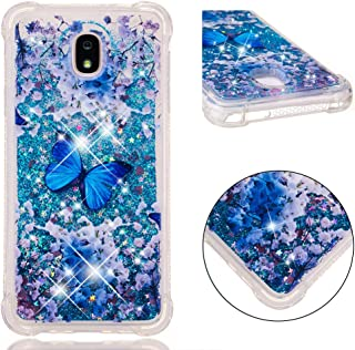 DECVO Glitter Case Compatible with Sumsung Galaxy J7 (2018) Luxury Fashion Bling Flowing Liquid Floating Sparkle Cover Pri...