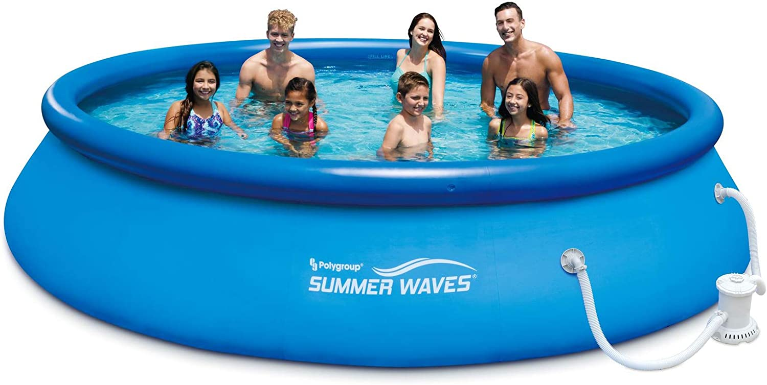 Amazon Com Summer Waves 15ft X 36in Quick Set Inflatable Above Ground Swimming Pool With Filter Pump Garden Outdoor