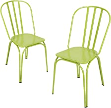 Adeco Contemporary Hollow Back Steel Stackable Chairs - Lime Green- Height 33 Inch - Set of 2