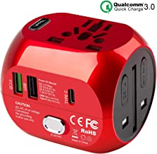 Sankoo Travel Adapter, Worldwide All in One Universal Travel Adaptor, Plug Adapter Converter, Travel Accessories Quick Charge 3.0 Wall Charger AC Portable Charger,for Europe,UK,US,AUS (Red)