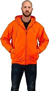 Orange Safety Full Zip High Visibility Thick Fleece Hooded Sweatshirt Hunting Jacket