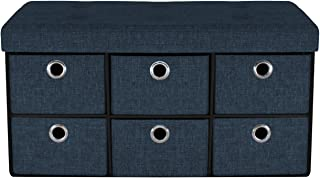 Sorbus Storage Bench Chest with Drawers – Collapsible Folding Bench Ottoman Includes Cover – Perfect for Entryway, Bedroom Bench, Cubby Drawer Footstool, Hope Chest, Faux Linen (Navy Blue)