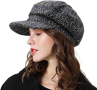 Womens Newsboy Cap Wool Visor Cabbie Fiddler Winter Spring Octagonal Paperboy Hat Girls Gift