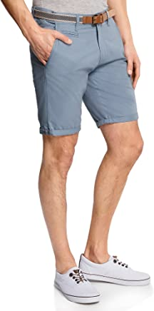 oodji Ultra Homme Short en Coton avec Ceinture