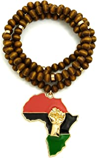 GWOOD Power Fist Over Pan African Africa Pendant Necklace with 36 Inch Wood Bead Chain
