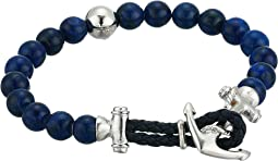 Lapis Bead Bracelet with Anchor Hook Closure in Stainless Steel
