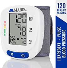 مانیتور فشار خون مچ دست کاف - MABIS دیجیتال قابل حمل بی سیم کیت سنج سنج کیت برای پالس، قلب نامنظم قلب، فشار خون بالا و پایین