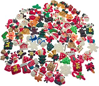 SIX VANKA 100pcs Miniature X'Mas Christmas Decoration DIY Flatback Resin Jingle Bell Sock Craft Embellishment Sets