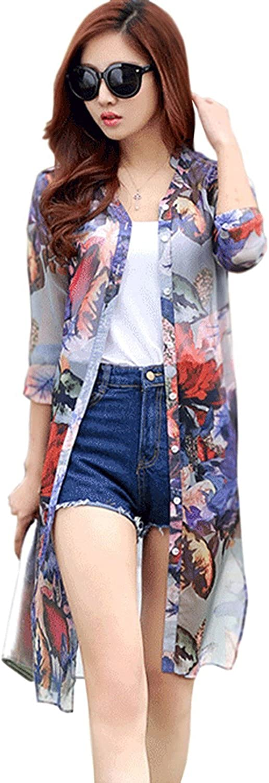 Zalezing Nice Women Floral Printed Shirt Long Sleeves Collar Shirt bluee