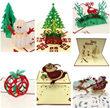 AlleTechPlus 3D Handmade Gift Greeting Christmas Cards 7 Pack Holiday Pop Up Cards with Envelopes&Stickers