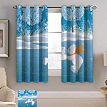 Cartoon Polyester Window Curtain Panels Little Polar Bears Skating on Frozen Lake Love Partners Artistic Christmas Theme for Living/Drawing Room, 36