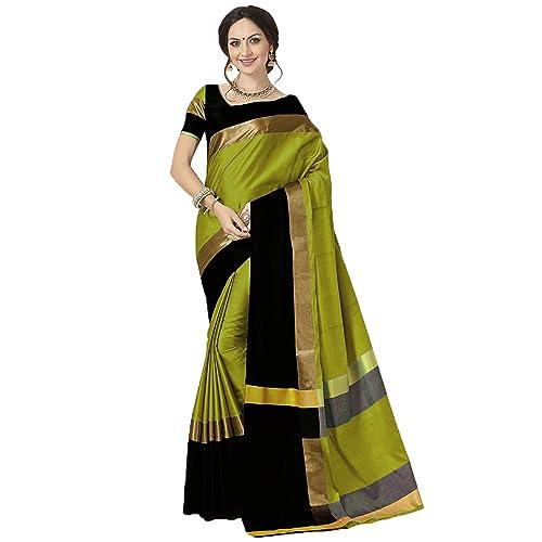 658999863a Indira Designer Art Silk Saree with Blouse Piece (AURA-LIME-BLACK_Lime &  Black_Free