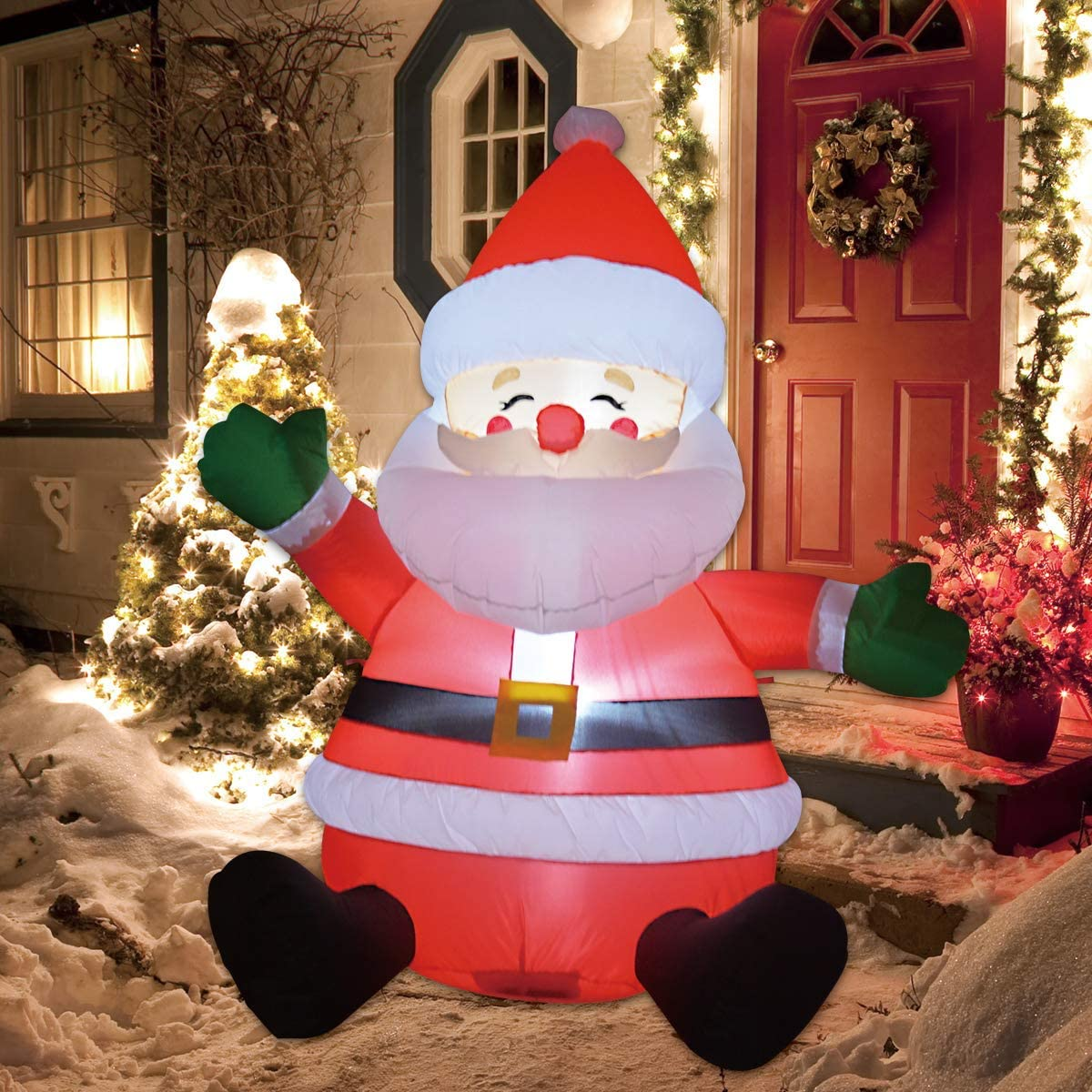 GOOSH 20 FT Christmas Inflatable Outdoor Sitting Santa Claus Happy Face,  Blow Up Yard Decoration Clearance with LED Lights Built in for ...