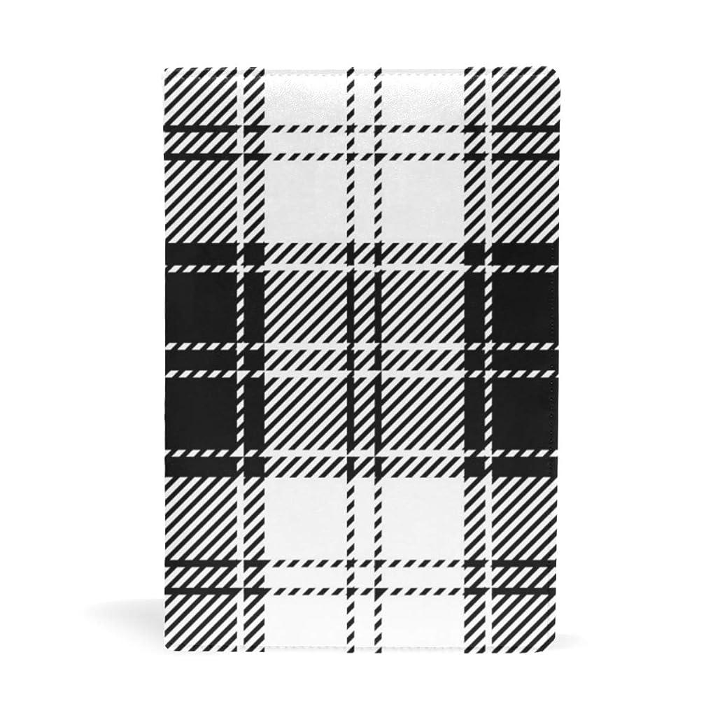 軸ラフト振り返るブラックホワイト 格子縞 ブックカバー 文庫 a5 皮革 おしゃれ 文庫本カバー 資料 収納入れ オフィス用品 読書 雑貨 プレゼント耐久性に優れ