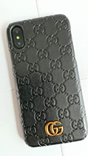 iPhone Xs MAX -US Fast Deliver Guarantee FBA- Luxury PU Leather Style Case Cover for Apple iPhoneXS MAX Only (Monogram Black)