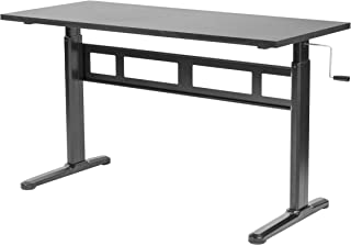 VIVO Black Height Adjustable 55 x 24 inch Table Top with Legs | Complete Sit Stand Desk Workstation with Frame and Desktop (DESK-V100M)