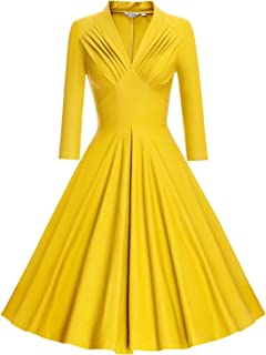 Women's V Neck Elegant 3/4 Sleeve Vintage Bridesmaid Party Dress