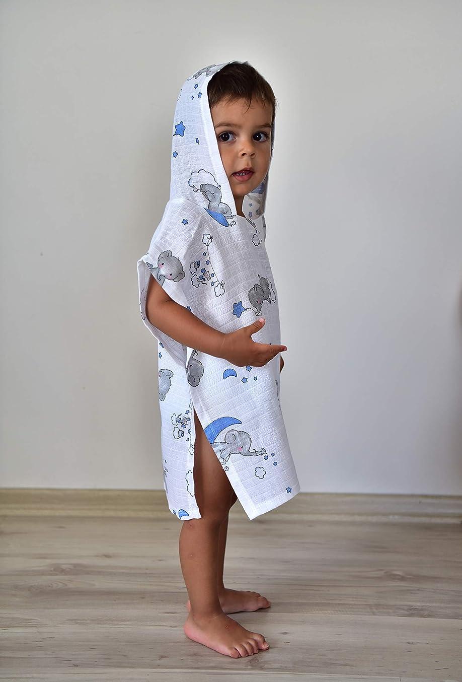 シェトランド諸島コンピューターを使用する大使館眠っているフクロウ Oeko-Tex 認定済み 綿100% モスリンポンチョ 12-24ヶ月 幼児 男の子