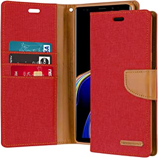 Goospery Canvas Wallet for Samsung Galaxy Note 9 Case (2018) Denim Stand Flip Cover (Red) NT9-CAN-RED